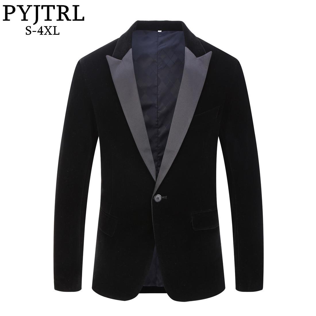PYJTRL masculina más tamaño clásico chal negro solapa chaqueta de terciopelo hombres moda Casual boda del novio Delgado traje chaqueta cantantes