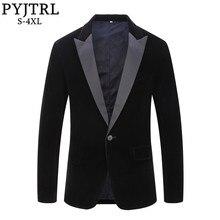 Pytrl 남성 플러스 사이즈 클래식 블랙 목도리 옷깃 벨벳 블레이저 남성 캐주얼 웨딩 신랑 슬림 양복 재킷 가수 의상
