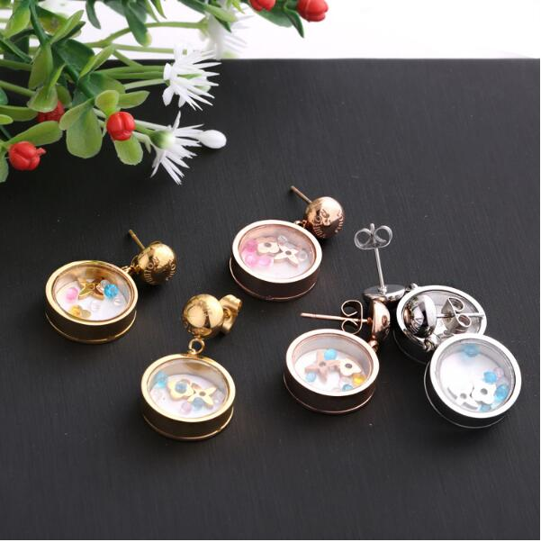 Rose Gold Color Black Stud Earring Disc glass crystal stainless steel Jewelry Fashion Accessories for Woman Man