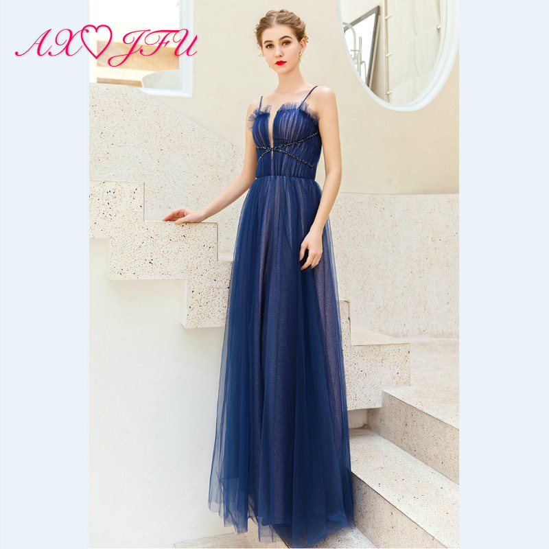 AXJFU princess luxury Dark Blue Banquet spaghetti strap   evening     dress   Birthday Party Host Performance ruffles   Evening     Dress   282