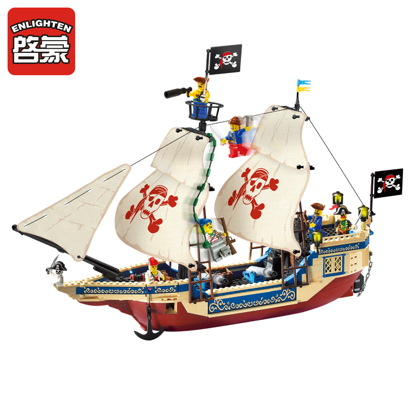 311 487pcs Pirate Constructor Model Kit Blocks Compatible LEGO Bricks Toys For Boys Girls Children Modeling