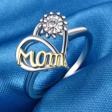 Simple Rings For Women Creative Love Mom Sunflower Silver Color Finger Ring Gift Mothers Day Fashion Jewelry Size 6-10