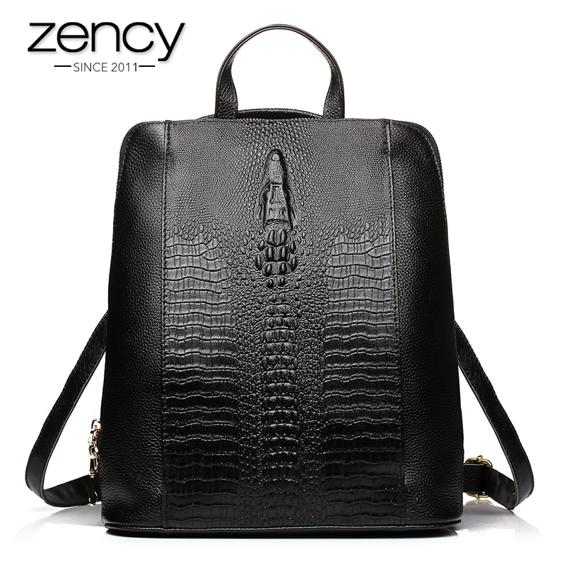 Luxury Genuine Leather Bag Ladies 2017 Crocodile Pattern Women Backpack Girl Book School Bags Famous Brand Designer High Quality luxury fashion retro pu leather famous brand women backpack american style ladies dark green bag college student school bags