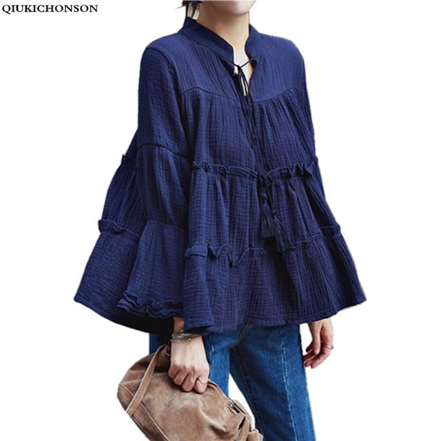 4744c7bb4aa 2018 Korean fashion women plus size blouses linen cotton long sleeve cute  loose baby doll batwing tops ladies chemisier femme