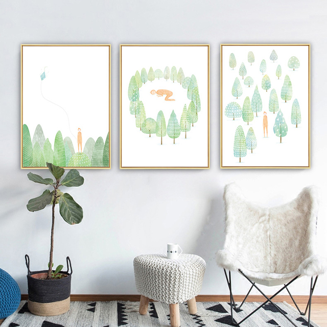 Watercolor Forest Elf Boy Cartoon Giclee Poster Print Green Tree Canvas Painting Childhood Baby Nursery Room