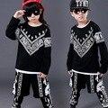 Popular Primavera Outono Crianças Hip Hop Roupas para Meninos Meninas Crianças Roupas de Desempenho Dança Top & Calças Dos Ternos Do Esporte