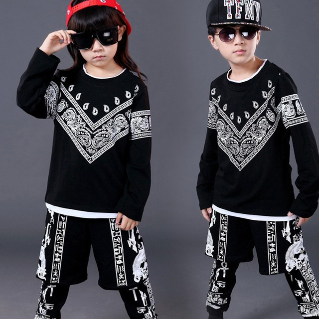 Popular Spring Autumn Kids Hip Hop Clothing for Boys Girls Performance Clothing Children Sport Suits Dance Top & Pants