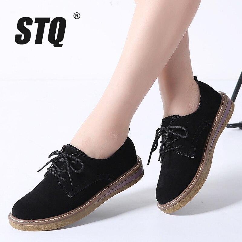 Stq 2018 Autumn Women Sneakers Oxford Shoes Flats Shoes