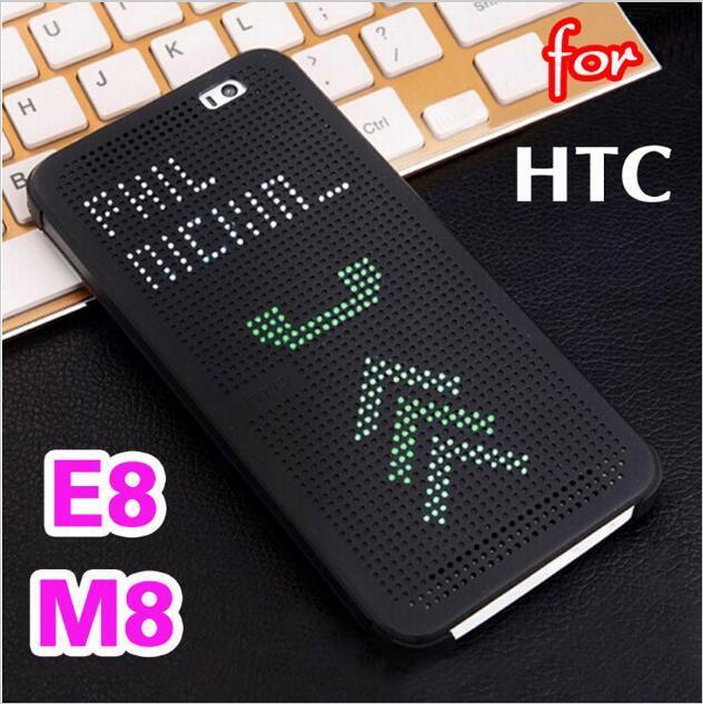 Case For HTC One M8 E8 Slim Dot Smart Auto Sleep View Phone Silicone Bag Original Flip Cover Shockproof Case For HTC M8 M8s E8