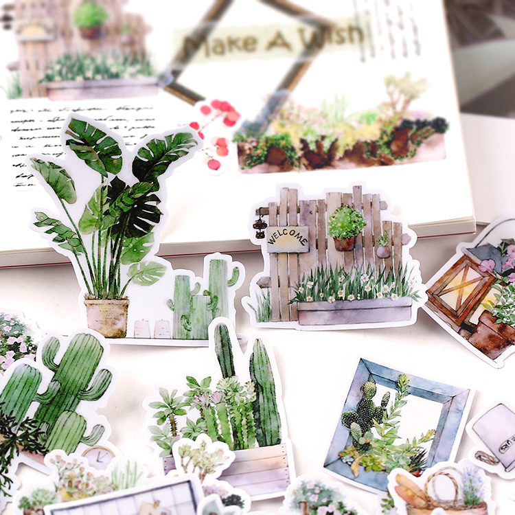 28pcs Cute Self-made Green Plant Stickers DIY Stickers Diary Album Decoration Scrapbooking Child Waterproof Mobile Phone Sticker