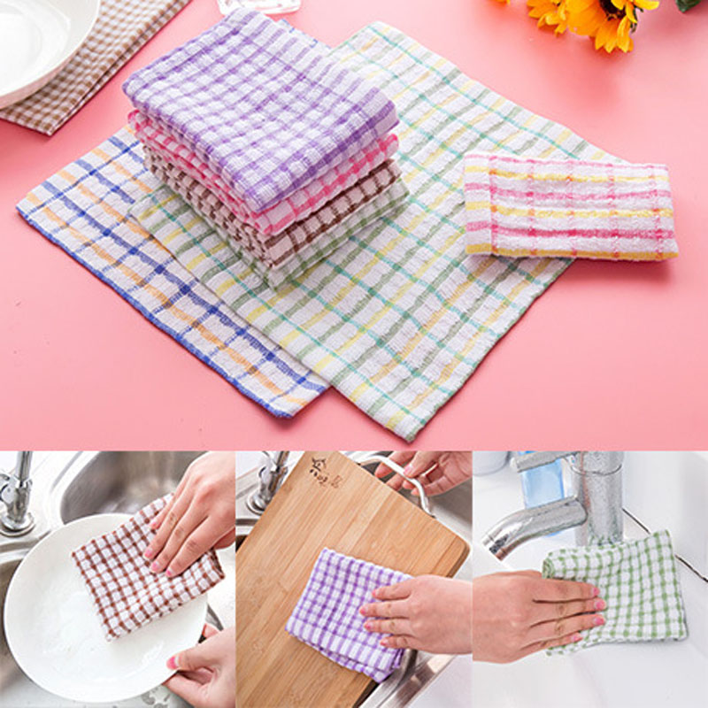 5pcs/Lot Cotton Kitchen Towels Dish Cloth 24x24cm Absorbent Home Cleaning  Wiping Rags(China