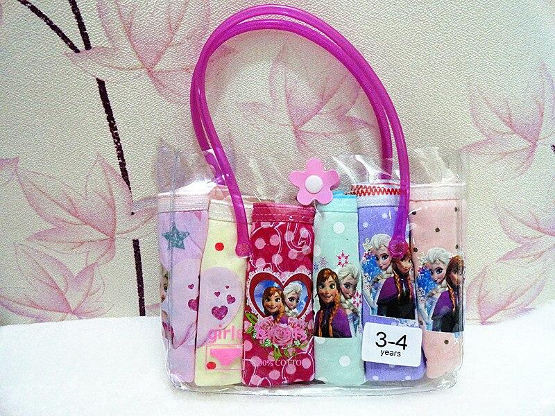 6 PCS/lot HOT Beautiful Gift Pack Girls Elsa Anna Cartoon Briefs Top Quality Kids Snow Cotton Underwear Mixed-Color Cute   Panties