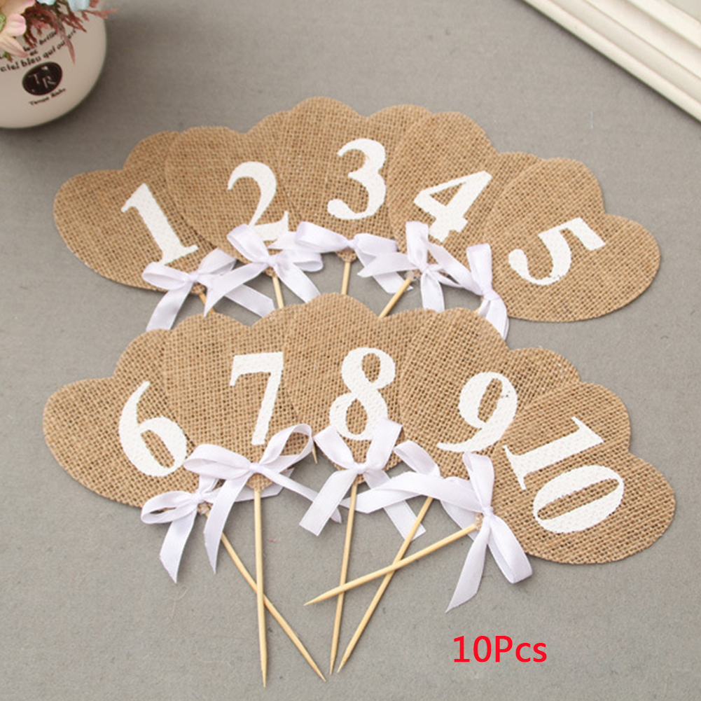 10pcs Home Decoration Props Vintage Banners Wedding Rustic Jute With Stick Numbers Burlap Hearts Flag Party Favor Bunting