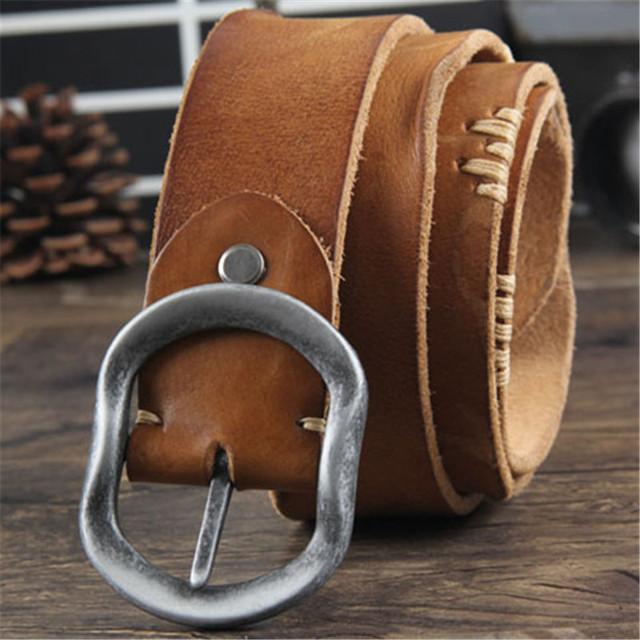 Couro Cintos de Couro Genuíno Cinta masculina pin fivela fantasia do vintage dos homens da marca jeans strap ceinture homme masculino cintos masculinos 1