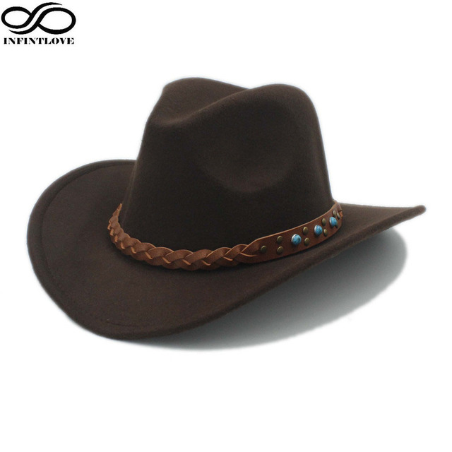 LUCKYLIANJI Wool Felt Western Cowboy Hat For Kid Child Wide Brim Cowgirl  Kallaite Braid Leather Band 5308f2838991