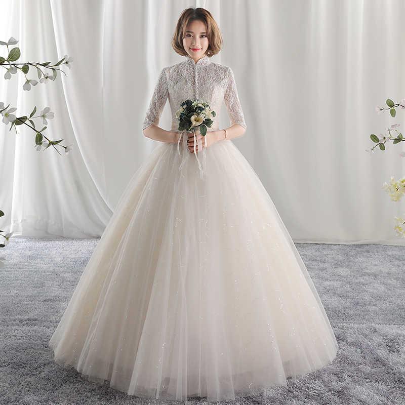 ארוך חצי שרוול מוסלמי תחרה חתונה שמלת 2019 mariage הכלה פשוט הכלה שמלה weddingdress vestido דה noiva אלין