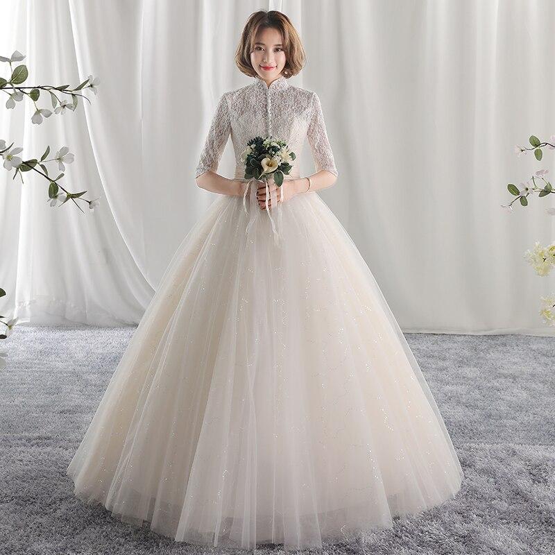long half sleeve muslim lace wedding dress 2018 mariage bride simple ...