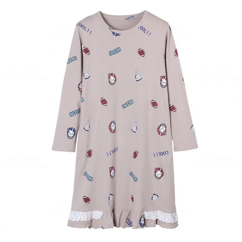 Brand New 100% Cotton Nightgown Women Nightdress Mujer Sleepwear Loose Version Nightgowns Lady Sleepshirts Dress Home Clothing
