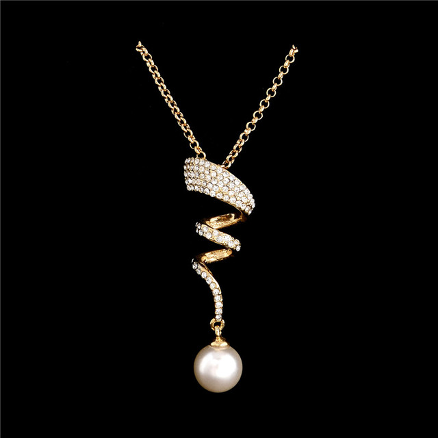 Vintage Imitation Pearl necklace Gold jewelry set for women Clear Crystal Elegant Party Gift Fashion Costume Jewelry Sets 5