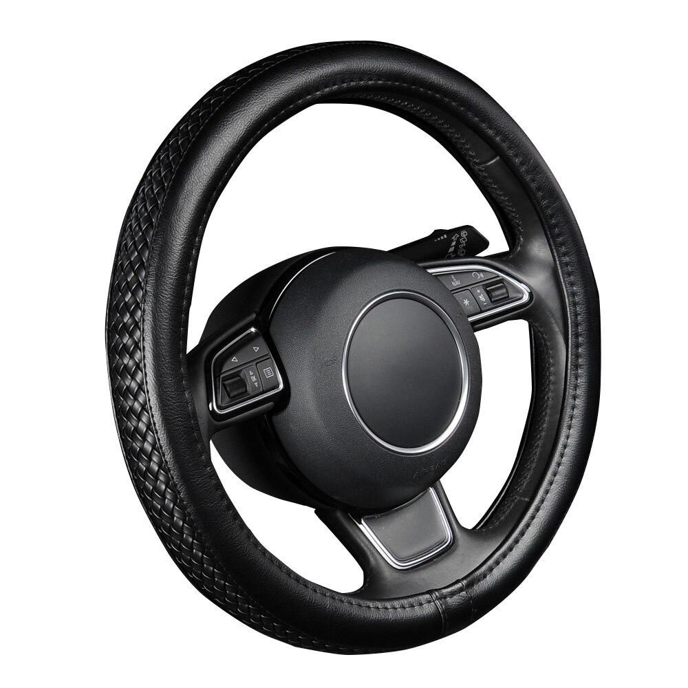 Cubierta de volante de cuero PU patrón de lichi negro con estilo de trenzado antideslizante talla M se adapta a 38 cm/ 15 de diámetro