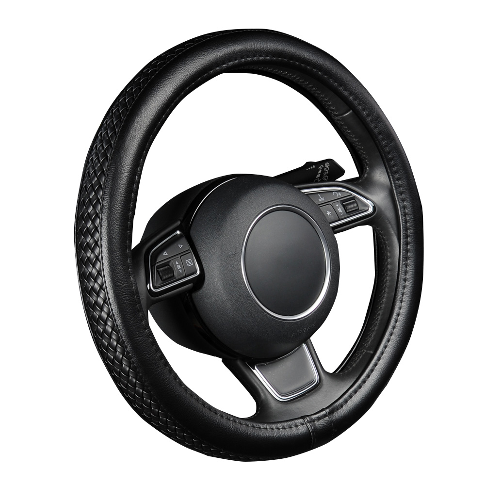 PU Leather Steering Wheel Cover Black Lychee Pattern with Anti-slip Braiding Style M Size fits 38cm/15