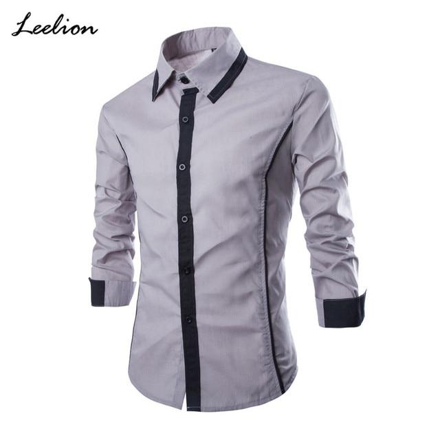 6affe8ab4e24 LeeLion 2018 New Summer Solid Dress Shirts Men Long Sleeve Fake Tie Men's  Shirts Camiseta Masculina Fashion Casual Shirts Man