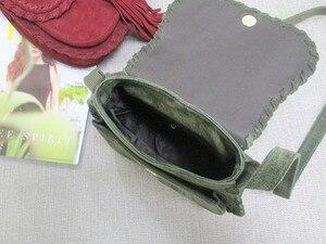Image 2 - Natural Suede Leather Saddle Bag Women Genuine Leather Casual Messenger Bag Female Leisure Natural Leather Fringe Shoulder Bag