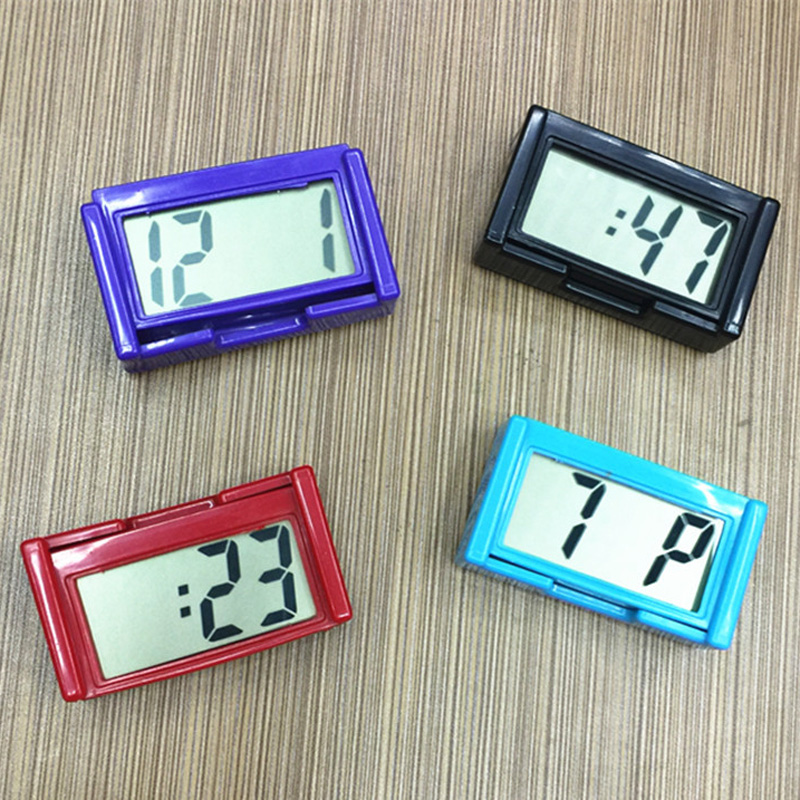 Car Clock Digital Time Interior Small Bracket Vehicle Dashboard Self-Adhesive