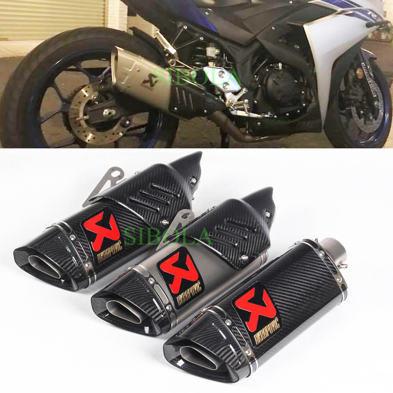 US $101 95 32% OFF|Akrapovic Exhaust Motorcycle Universal Muffler Pipe  Carbon Fiber Stainless Steel escapamento de moto For Yamaha R15 CRF 230  FZ1-in