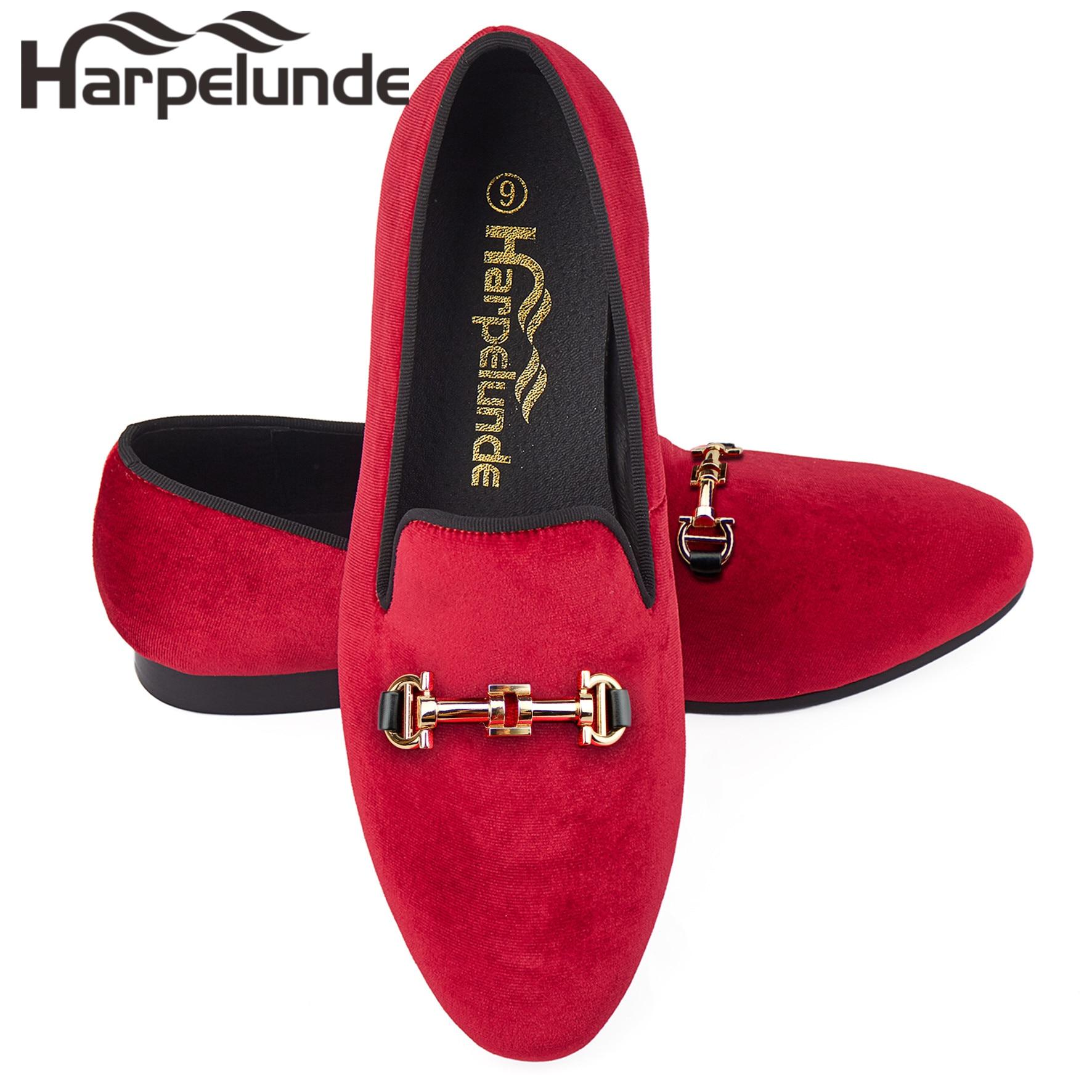 Harpelunde красные бархатные туфли Пряжка Для мужчин продвижение повседневная обувь