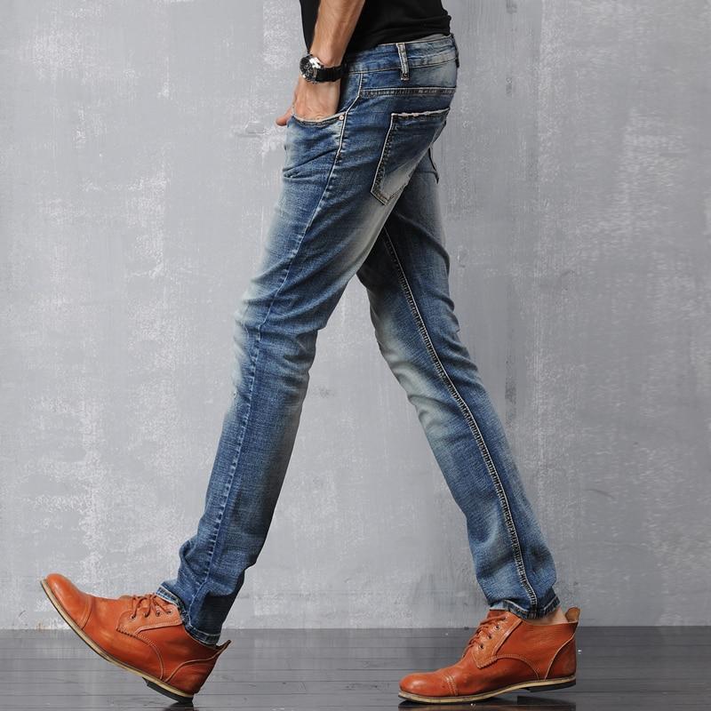 Aliexpress.com : Buy Men's light blue slim biker jeans Male ...