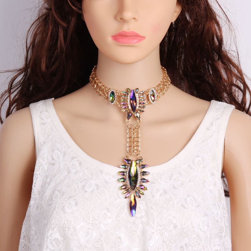 Best lady Bohemian Luxury Crystal Chunky Necklace Pendant Collar