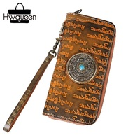 Tibetan Buddhism Designer Genuine Cow Leather Antique Style Men Clutch Wallet Unisex Wristlets Bag Male Long Card Holder Purse