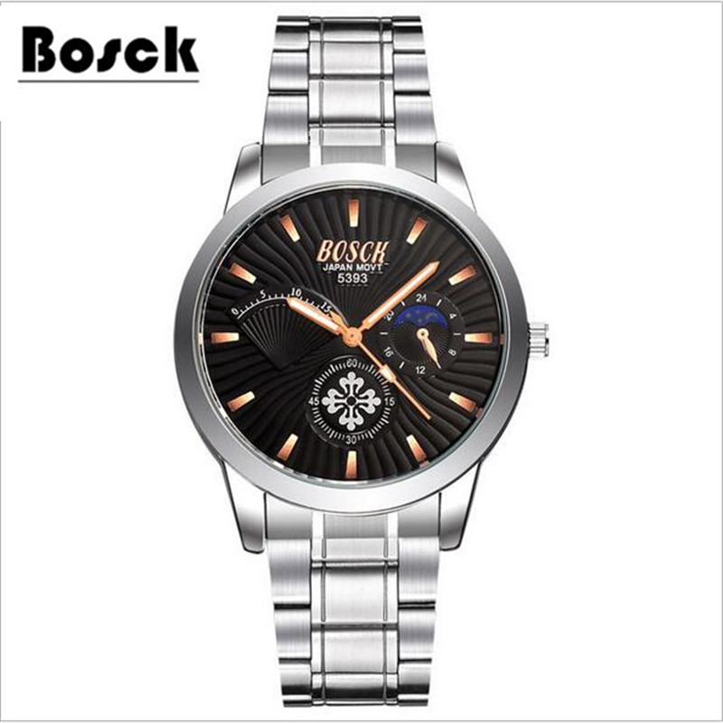 BOSCK famous watches quart watch design sport steel clock font b top b font quality military