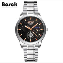 BOSCK famous watches quart watch design sport steel clock top quality military men male luxury Metal watchband 5393
