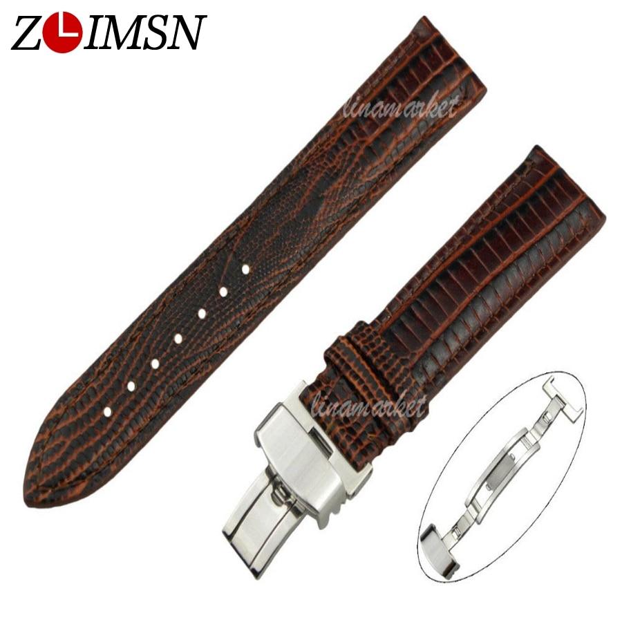 ZLIMSN Brown Lizard Grain 100% Genuine Leather Watch Strap Replacement Butterfly Deployment Clasp Men Women 18 20 22 24mm
