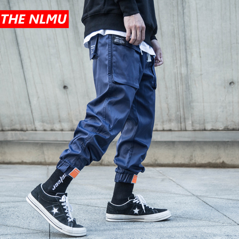 Mens Multi-pocket Harem Pants Men Streetwear Punk Cargo Pant Hip Hop Casual Trousers Joggers Male Black Blue Pants WG143