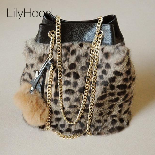 7aed5e5464 LilyHood 2017 Lady Genuine Leather Rabbit Fur Bucket Shoulder Bag Winter  Cute PomPom Chain Shop Online Leopard Handbag Gift