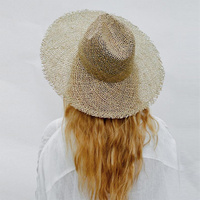 Maylisacc Women Fray Woven Seagrass Boater Hat Casual Beach Hat Cap Wide Brim Summer Sun Hat Straw Hats for Kentucky Derby