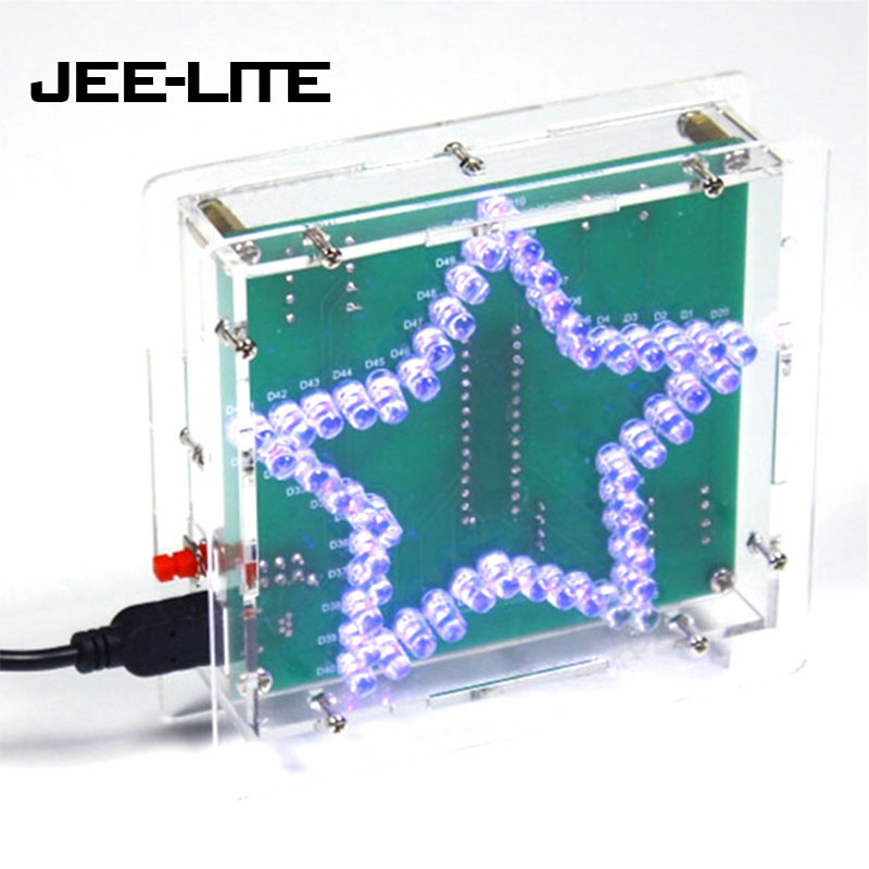 Colorful Glittering Five-Pointed Star Water Light LED Kit DIY Kit W/ Acrylic Shell DC 4.5V-5V 1.6mm PCB DIY Holiday Gifts
