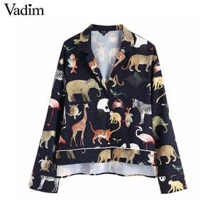 Image 1 - Vadim kadınlar chic hayvan desen baskı bluz uzun kollu turn down yaka düzensiz kadın casual gömlek retro tops blusas LA939