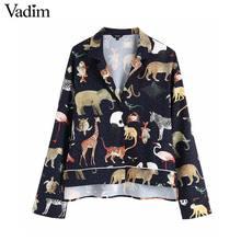 Vadim kobiety chic zwierząt wzór druku bluzka z długim rękawem skręcić w dół kołnierz nieregularna dla kobiet koszule na co dzień bluzki retro blusas LA939