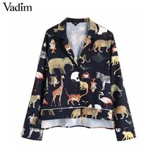 Vadim women chic animal pattern print blouse long sleeve turn down collar irregular female casual shirts retro tops blusas LA939