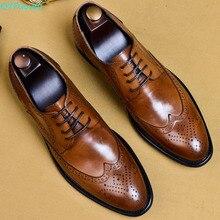 QYFCIOUFU/Новинка года; Мужские модельные туфли; мужские оксфорды из натуральной кожи; Итальянская Классическая винтажная Мужская обувь с перфорацией типа «броги» на шнуровке; оксфорды; размеры США 11,5