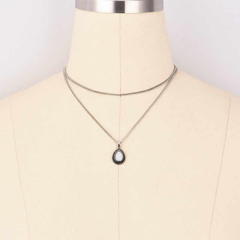 2019 ผู้หญิงวินเทจ choker Silver Chain drop สร้อยคอ choker สร้อยคอเครื่องประดับ collana Kolye Bijoux Collares Mujer Collier Femme