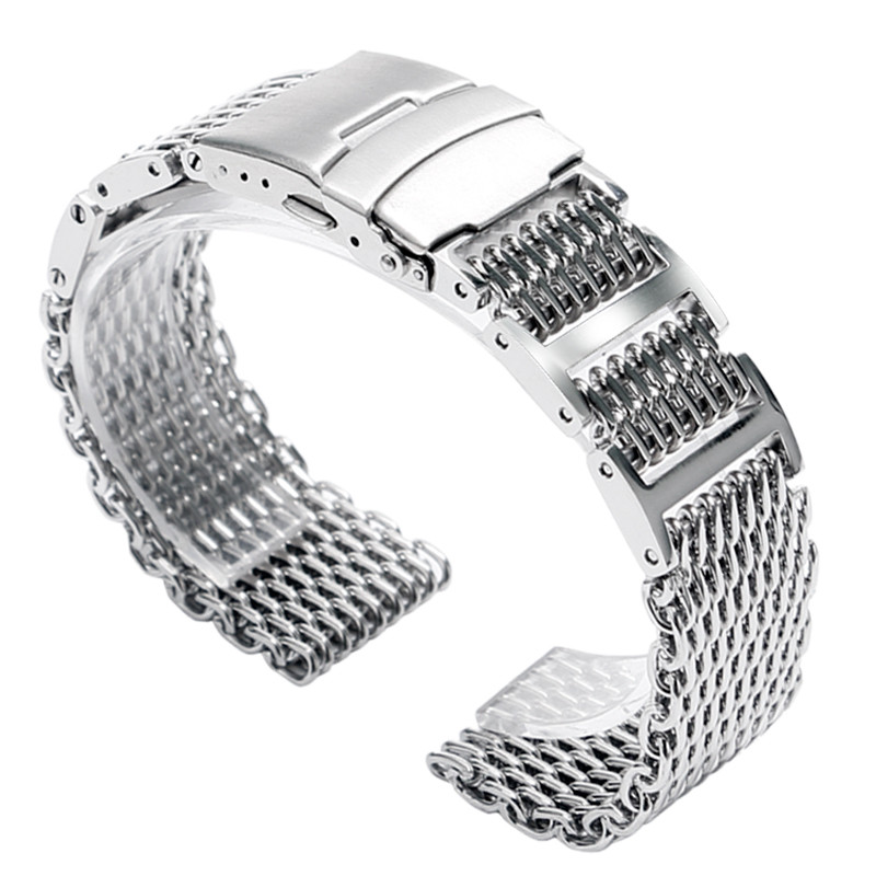 20mm 22mm 24mm Men Silver Folding Clasp with Safety Bracelet Stainless Steel Shark Mesh Replacement Watch Band Strap Luxury New 22mm silver replacement folding clasp with safety shark mesh men watch band strap stainless steel 2 spring bars high quality