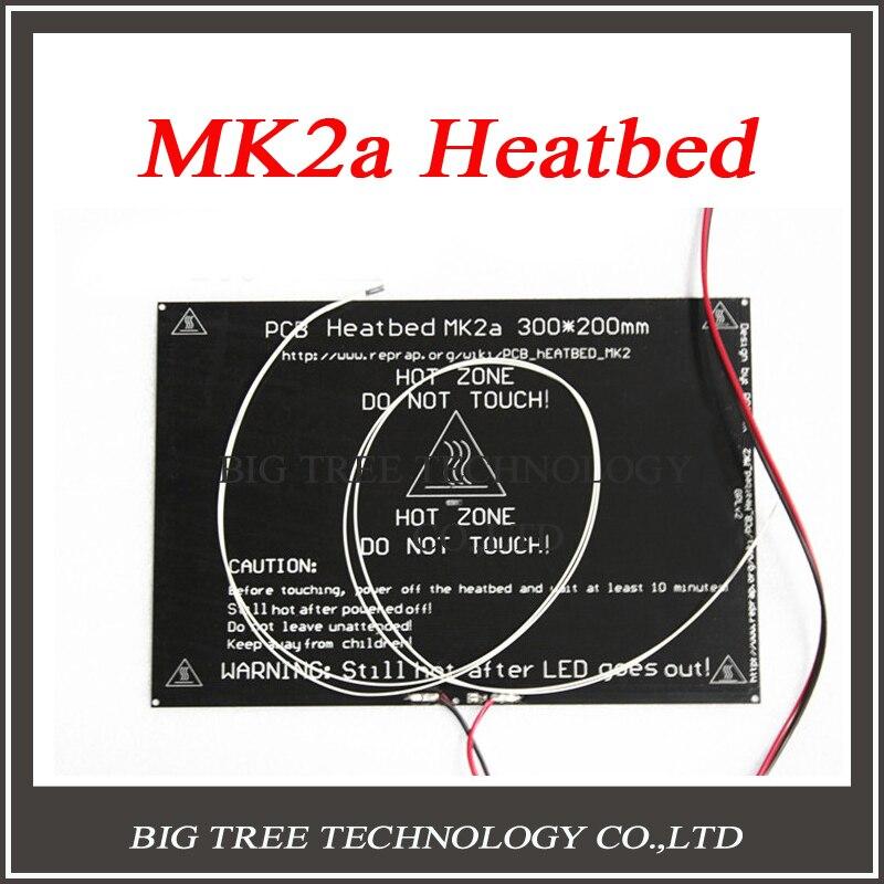 Bigger! 2015 MK2A 300*200*3.0mm RepRap <font><b>RAMPS</b></font> 1.4 PCB Aluminum Heatbed + <font><b>LED</b></font> Resistor + Cable + Thermistors for 3D Printer MK2B