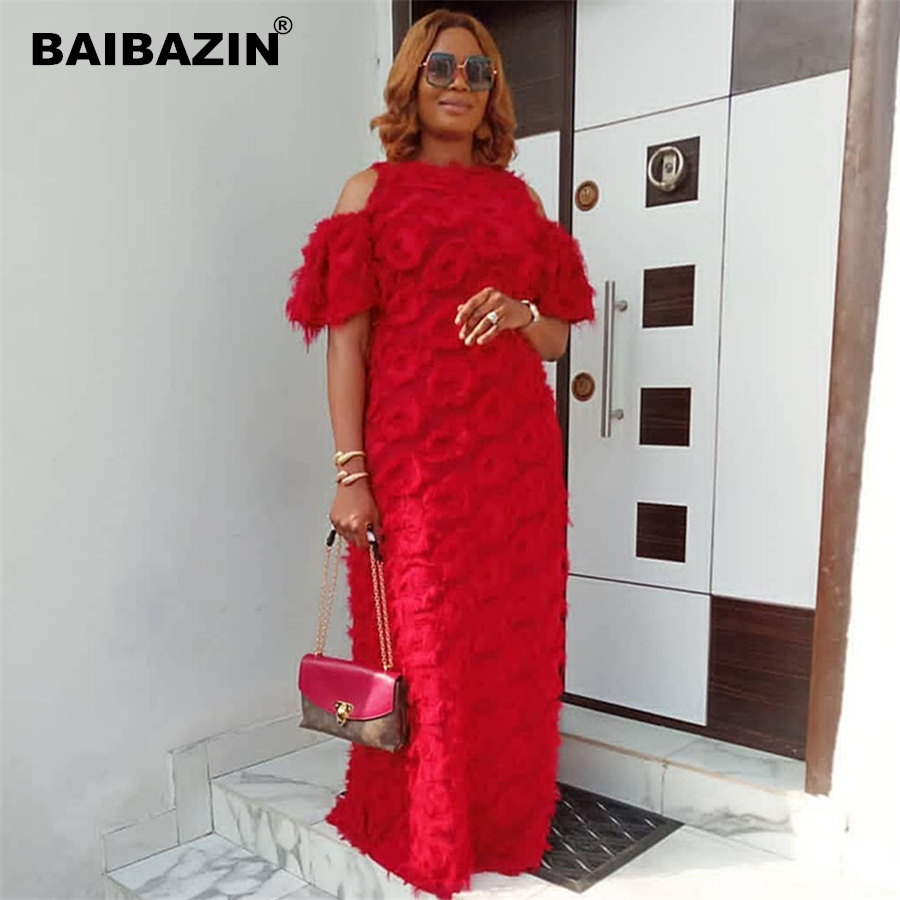 BAIBAZIN New African Dresses for Women Fashion Women's Round Neck Off-the-shoulder Short-sleeved Special Fur Fabric Loose Dress