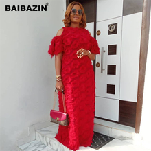 BAIBAZIN New African Dresses for Women Fashion Womens Round Neck Off-the-shoulder Short-sleeved Special Fur Fabric Loose Dress