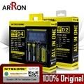 Original Nitecore D4 D2 Caliente Digicharger LCD Circuito Inteligente li-ion 18650 14500 16340 26650 Cargador de Batería de protección cas